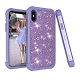 Für iPhone XS Max Hülle , 2018 Glitzer Handytasche Mädchen Glitter Sparkle Bling Strass Hart PC Hardcase Bumper Cover for iPhone XS Max (Lila)