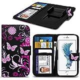 Spyrox - Phicomm Energy 2 E670 Case PU-Leder rosa Schmetterling gedrucktes Entwurfs-Muster-Mappen-Clamp-Art-Frühlings-Haut-Abdeckung