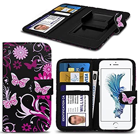 PHONE Accessories PACK: WALLET + POWER BANK ( Pink Flower Butterfly 155 x 78) PRINTED DESIGN case for Bush Spira D2 case cover pouch High Quality Thin Faux Leather Holdit Spring Clamp Clip on Adjustable Book Style Flip case cover Skin With Credit/Debit Bush Spira D2 case by i-Tronixs