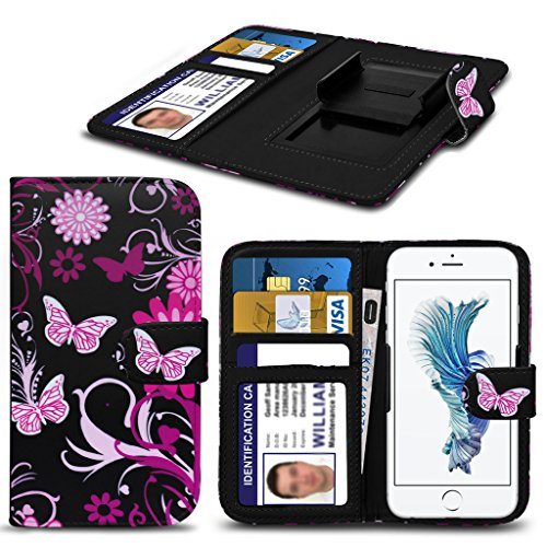 Panasonic Toughpad Fz- F1 HŸlleBrieftaschen-Etui Pouch PU Leather [Pink Butterfly] PRINTED DESIGN HŸlleDesign Spring Clamp [Clip on] Adjustable Book Style Flip Skin HandyhŸlle by i-Tronixs¬