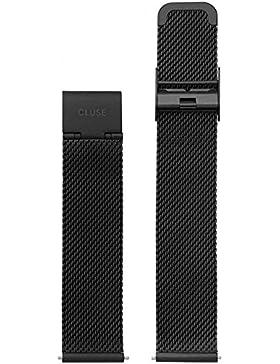Cluse Damen Armbanduhr Zubehör Metallbänder Edelstahl La Bohème Strap Mesh Full Black schwarz CLS048