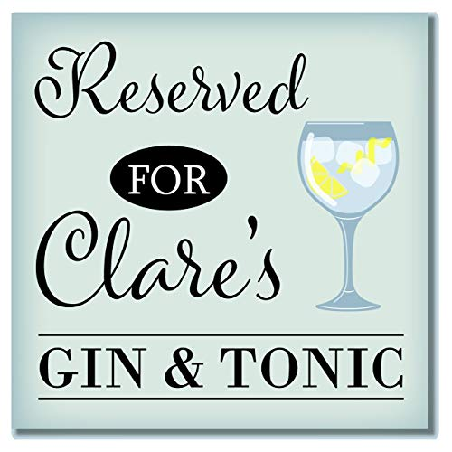 Personalizado cristal de reservado para nombre de Gin & Tonic 'posavasos regalo