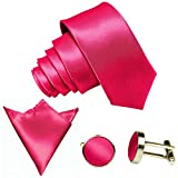 3-SET Pink Rosa Krawatte moderne Breite 8,5cm Binder Manschettenknöpfe Einstecktuch Satin Seide-Optik Hochzeitskrawatte