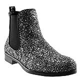 Angkorly - Damen Schuhe Stiefeletten - Slip-on - Chelsea Boots - Abend - Glitzer - glänzende - Flashy Blockabsatz 2.5 cm - Silber YS475 T 37