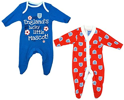 BABY-BOYS-2-PACK-ENGLAND-LITTLE-MASCOT-COTTON-SLEEPSUITS-EX-STORE