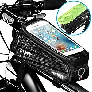 5166s%2BF7sqL. SS300 BTNEEU Borsa Telaio Bici Impermeabile Borsa Manubrio Bicicletta con TPU Touchscreen Sensibile, Borsa Bici Cellulare…