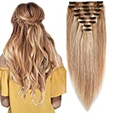 Hair Extensions Clip in Human Hair Remy Full Head Thick Double Weft Straight