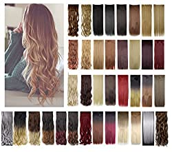 Haironline 3/4 Full Head 24-30Straight Curly Wavy One piece 5 clips Clip in Synthetic Hair Extensions Hairpiece
