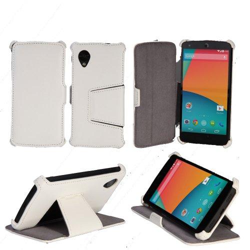 Etui luxe LG Nexus 5 16/32/64 Go (3G/Wifi/4G/LTE) Ultra Slim blanc Cuir Style avec stand - Housse coque de protection pour Google LG Nexus 5 blanche - Prix découverte accessoires pochette XEPTIO : Exceptional case !