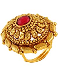 AccessHer Antique Gold Plated Finger Ring with Ruby for Women