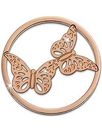 Adamello monedas de acero inoxidable-joyas, moneda de oro rosa mariposas - pieza para Adamello Coin versión para mujer - acero inoxidable Stainless Steel ESC522E