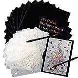 Papier d'art à gratter de Noël, papier à gratter Rainbow Set 12PCS pochoirs à dessin de Noël, feuilles de papier 30PCS, stylos à double tête 2PCS Rainbow Scratch Sketch Art Kit pour enfants
