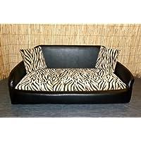 Zippy EXTRA LARGE Black Faux Leather & Zebra Chenille Sofa Pet Dog Bed - Washable Loose Cushion Covers