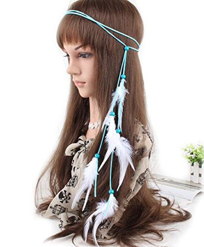 Leder Seil Bohemian Feder headband-feather Stirnband Hippie Boho -