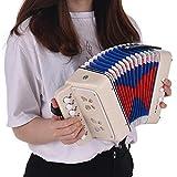 KOUPA Fisarmonica Giocattolo per Bambini Fisarmonica, con 7 Chiavi di Violino, 3 valvole pneumatiche, Cinghia da Polso, Strumenti a Tastiera, per Bambini Bambini Bambini Bambini Principianti, Bianco
