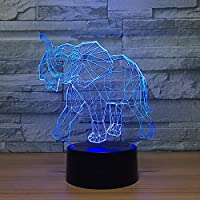 Visual Source Lamp, Small Elephant Colorful Remote Control Touch Gift Desktop Small 3D Light Fixtures Acrylic Birthday Party Button Gifts LED Christmas Bedroom Living Room