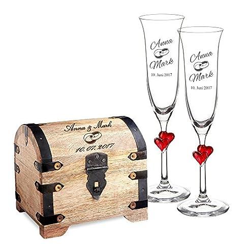 Geschenkset zur Hochzeit – 2 Sektgläser und Geld-Schatztruhe mit Gravur – Personalisiert mit [Namen] und [Datum] – Motiv Ringe – Präsent zur Hochzeit – Geschenk für Paare
