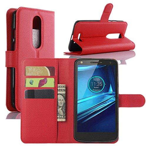 HualuBro Moto X Force Hülle, [All Around Schutz] Premium PU Leder Leather Wallet HandyHülle Tasche Schutzhülle Flip Case Cover für Motorola Moto X Force Smartphone (Rot)