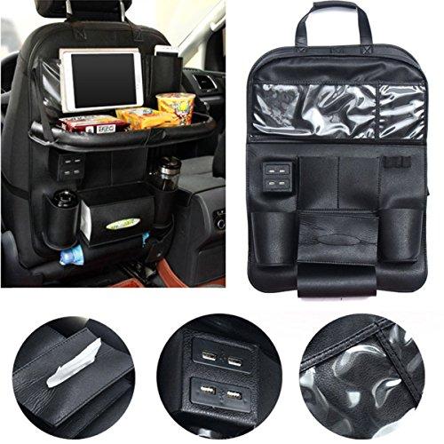 Auto Organizer, Multi-Pockets Kick Mats Reise Sitz Organizer mit 4 Port USB Ladegerät und Folding Essbereich Rack Rückenlehnenschutz Autositz Organizer Autositztasche Reisewagensitzbeutel (1 PCS)