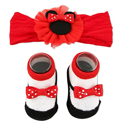 Disney Baby Girls Minnie Mouse Headwrap and Booties Gift Set, Red, 0-12M - Red Booties