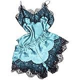 Proumy Pijama de Encaje Transparente Verano Mujer Conjunto de Batas Dos Piezas con Calzoncillos Ropa de Dormir Verano Conjutno Sexy Traje Floral de Talla Grande Ropa Interior Lencería de Cama Sólida
