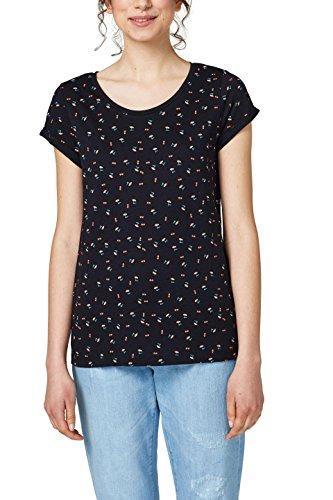 edc by ESPRIT Damen T-Shirt 028CC1K047, Mehrfarbig (Black 001), Large