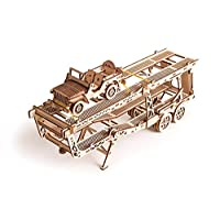 Wood Trick Model Car Trailer Addition for Big Rig Truck, Toy Trailer with Mini Jeep Toy Car - 3D Wooden Puzzle - STEM Toys for Boys and Girls