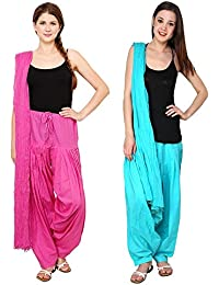 Mango People Products Patiala Salwars And Dupatta Set Combo(Free Size, Magenta(Dark Pink) & Sky Blue Colour By...