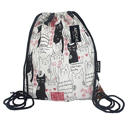 artone-gatos-lona-con-cordon-bolso-viajar-daypack-deportes-portatil-mochila-negro-rojo