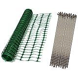 Oypla 1m x 50m Green Mesh Safety Barrier Fencing & 10 Fencing Pins