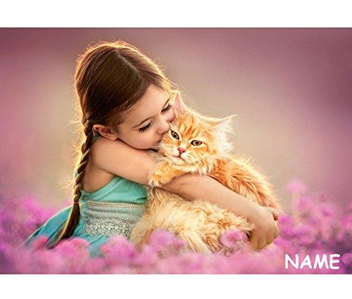 alles-meine.de GmbH Puzzle 500 Teile - Mädchen mit süßer Katze - schmusend  - incl. Name - Foto - Kätzchen / Haustier - Romantisches Bild - Katzen - Tiere - rote Miezekatze - T.. (Bilder Von Einem T)