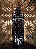 Orientalische Laterne aus Metall Schwarz Frane 130cm groß