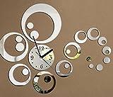 URAQT Pendule Murale Design DIY Horloge Magnifique Style Modernes Miroir en Acrylic Décoration Murale Silencieux