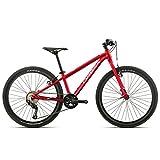 Orbea MX 24 Team Zoll MTB Kinder Fahrrad 9 Gang Rad Aluminium Jugend Kids Mountain Bike Shimano, I018, Farbe Rot Weiß