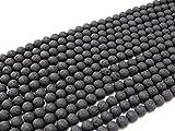 Beads Ok, DIY, Lave, Noir, A-Grade, Véritable, Naturel, 8mm, Perle en Pierre Semi-précieuse, Ronde, Environ 38cm Un Fil. (Lava, Black, A-Grade, Genuine, Natural, Plain Round Bead)