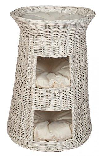 *Floranica – 3 Etagen Hoher Katzenkorb / Katzenbett / Katzenliege / Katzenbaum aus Weide mit oder ohne Kissen (wählbar), Kissenfarbe:helle Kissen, Model:Weißer Turm*
