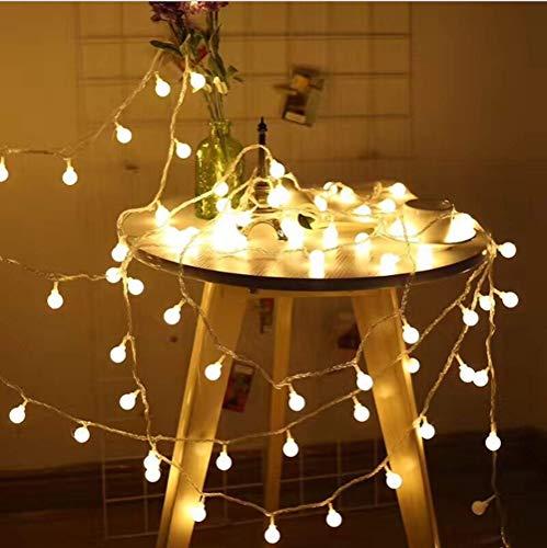 Jp-led catena luminosa di luci led 13m【filo di 100 lampadine 10m e cavo di prolunga 3m】luci da esterno e interno con 8 modalità flash. per giardino, casa, feste, natale, matrimonio, decorazioni