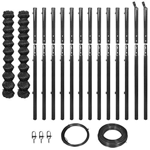 lingjiushopping clôture de tissu Met š ¢ Lica avec poteaux et Penture 1,97 x 25 m gris clôture de fil : Tama ? ou de la clôture : 1,97 x 25 m (hauteur x longueur) (2 rouleaux, chaque de 1,97 x 12,5 m)