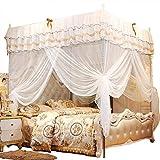 Wifehelper Luxury Moskitonetz, Prinzessin Vier Eckpfosten Elegante Bett Vorhang Baldachin Netting Betthimmel Set Einfache Installation für Schlafzimmer Reise (180 * 200 * 200 cm)