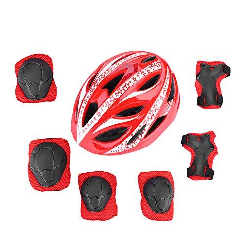 Dilwe Kinder Fahrradhelm mit Sport Schutzausrüstung, Jugendlichen Schutzhelm und Knieschutz und Handgelenkschützer für Fahrrad und Longboard Skateboard Streetboard und Roller(Rot) -