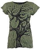 Guru-Shop Sure T-Shirt Om Tree, Damen, Olive, Baumwolle, Size:S (36), Bedrucktes Shirt Alternative Bekleidung