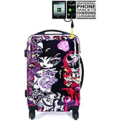 Kabinentrolley Trolley Koffer 4 Rollen Handgepäck Kabinenkoffer Handgepaeck Leicht Kindergepäck Ryanair Easyjet TOKYOTO LUGGAGE 55x40x20 TATTOO GIRL (MOBILE GERÄTE ZU LADEN) (NUR KOFFER)