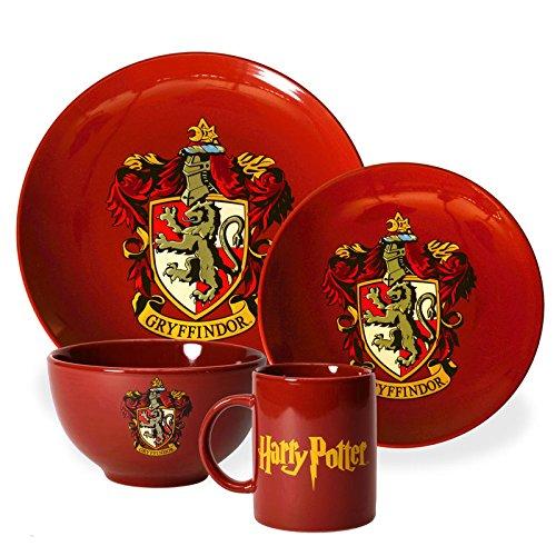 Harry Potter Gryffindor Geschirrset mit 4 Teilen - Harry Potter Geschirr Set Gryffindor Wappen Geschirr Zauberei
