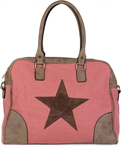 styleBREAKER Canvas Shopper Tasche mit aufgenähtem Stern, Kunstleder Applikationen, Schultertasche, Umhängetasche, Damen 02012083, Farbe:Altrosa
