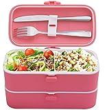 Veggycook Lunch Box Boîte à Repas bento Hermétique Couverts en Acier INOX Inclus 1200ml sans bpa (Rose)