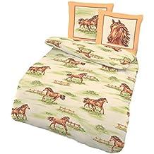 Ropa de cama infantil (135x 200cm y almohada de 80x 80cm 2piezas., träumschön Marca de cama (100% algodón, funda nórdica Caballos Wiese Fein de ropa de cama de franela fabricado en Alemania.