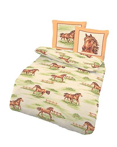 Kinderbettwäsche Mädchen 135x200 | Pferde Motiv Bettwäsche aus 100% Baumwolle | Biber Bettwäsche 135x200 cm & Kissenbezug 80x80 | 2teilig