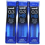 """""""Strength & Deep & Smooth -Uni-ball Extra Fine Diamond Infused Pencil Leads, 0.3 mm-HB-nano Dia 15 Leads X 3 Pack/total 45 Leads/(With Our Shop Original Product Description)"""
