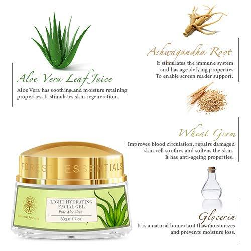 Forest Essentials Pure Aloe Vera Light Hydrating Gel, 50g