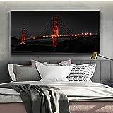Wieoc Goldene Brücke Nachtansicht Wandbilder Für Wohnzimmer Poster Und Drucke Landschaft Leinwand Malerei Auf Der Wand Leinwand Kunst Decor 50X100 cm